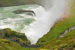 People at Gullfoss Waterfall, Hvítá river, Golden Circle, Iceland
