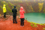 People Viewing Kerid Crater, Golden Circle, Grímsnes, Iceland