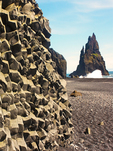 Basaltic Columns and Reynisdrangar Sea Stacks, Reynisfjara Beach, Vík í Mýrdal, Iceland