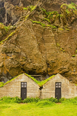 Turf Buildings at Drangurin Rock, Southern Iceland