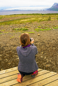 Hiker Viewing Morsarjokull Glacier, Skaftafell National Park, Iceland
