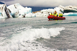 Zodiac Tour Boat and Iceberg, Jokulsarlon Glacier Lagoon, Vatnajökull National Park, Iceland