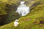 Hiker Viewing Waterfall, Fimmvorduhals Trail, Skoga River, Skogar, Iceland
