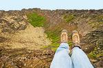 Hiker's Feet on Eldborg Crater, Spatter Cone, Snaefellsnes Peninsula, Iceland