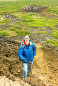 Hiker on Trail to Eldborg Crater, Spatter Cone, Snaefellsnes Peninsula, Iceland