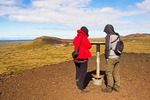 Hikers at View Dial, Summit of Saxholl Crater, Snaefellsjokull National Park, Snaefellsnes Peninsula, Iceland