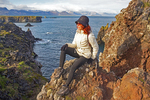 Hiker on Cliffs, Trail Between Arnarstampi and Hellnar, Snaefellsnes Peninsula, Iceland