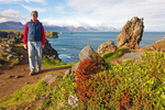 Hiker on Coast, Hellnar, Snaefellsnes Peninsula, Iceland