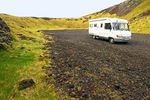 RV in Berudalur Valley Crater, Holaholar Craters, Snaefellsjokull National Park, Snaefellsnes Peninsula, Iceland