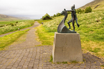 Statue of Leif Erickson and Birthplace Replica, Home of Erik the Red, Birthplace of Leif Eiriksson, Haukadalur, Dalabyggo, Iceland