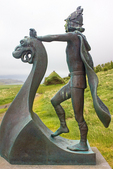 Statue of Leif Erickson and Birthplace Replica, Home of Erik the Red, Birthplace of Leif Eiriksson, Haukadalur, Dalabyggo, Iceland