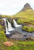 Kirkjufellfoss Waterfall and Kirkjufell Mountain, Kirkjufellsa River, Snaefellsnes Peninsula, Grundarfjordur, Iceland