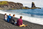 People on Djupalonssandur Beach, Snaefellsjokull National Park, Snaefellsnes Peninsula, Iceland