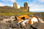 Rusty Wreckage and Londrangar Basalt Cliffs, Malarrif, Snaefellsjokull National Park, Snaefellsnes Peninsula, Iceland