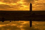 Sunset and Malarrif Lighthouse, Snaefellsjokull National Park, Snaefellsnes Peninsula, Iceland