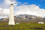 Malarrif Lighthouse and Snaefellsjokull Glacier, Snaefellsjokull National Park, Snaefellsnes Peninsula, Iceland