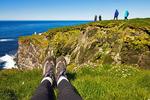 Hiker's Feet on Latrabjarg Cliffs, Westfjords, Iceland