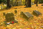 Nathaniel Hawthorne Grave in Autumn, Sleepy Hollow Cemetery, Concord, Massachusetts