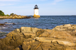 Fort Pickering Lighthouse and Rocky Coast of New England, Winter Island Light, Salem, Massachusetts