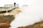 Person Viewing Gunnuhver Geothermal Area, Reykjanes Peninsula, Iceland