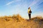 Hiker on Sand Dune, Parker River National Wildlife Refuge, Plum Island, Newburyport, Massachusetts