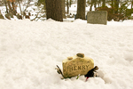 Henry David Thoreau Grave in Winter, Sleepy Hollow Cemetery, Concord, Massachusetts,