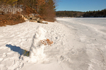 Snowman in Winter at Walden Pond, Concord, Massachusetts