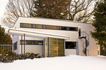 Gropius House in Winter, International Style Bauhaus Architectural Style, twentieth century Architecture, Lincoln, Massachusetts