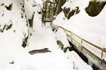 Flume Gorge in Winter, Franconia Notch State Park, White Mountains, Lincoln, New Hampshire
