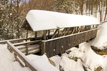 Sentinel Pine Covered Bridge in Winter, Historic Stringer Bridge, The Flume, Franconia Notch State Park, White Mountains, Lincoln, New Hampshire