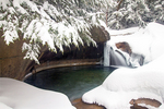 The Basin in Winter, Water Eroded Glacial Granite Pothole, Pemigewasset River, Franconia Notch State Park, White Mountains, New Hampshire