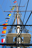 Flags and Rigging, USS Constitution, Old Ironsides, Wooden Hulled, Three-Masted Heavy Frigate, United States Navy, Freedom Trail, Boston National Historial Park, Charlestown Navy Yard, Boston, Massachusetts