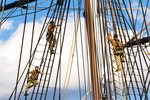 Navy ROTC Cadets Climbing the Rigging of the USS Constitution, Old Ironsides, Wooden Hulled, Three-Masted Heavy Frigate, United States Navy, Freedom Trail, Boston National Historial Park, Charlestown Navy Yard, Boston, Massachusetts