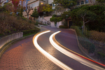 Car Streaks on Lombard Street at Night, San Francisco, California