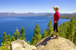 Hiker Viewing Lake Tahoe, Rubicon Trail, Bliss State Park, Sierrra Nevada's, California