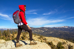 Hiker on Summit of Big Baldy, Kings Canyon National Park, California