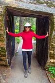 Hiker Walking Through Sequoia Tree, Sequoiadendron giganteum, Hazelwood Trail, Giant Forest, Sequoia National Park, Sierra Nevada Mountain Range, California
