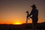 Photographer at Sunset on Sunset Rock, Giant Forest, Sequoia National Park, California