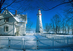 Marblehead Lighthouse in winter