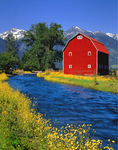 Canal and red barn