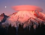 Moon and lenticular cloud over Mt. Rainier