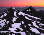 Volcano line-up, the crest of the Cascade Range at sunrise