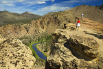 Hikers on Misery Ridge Trail above Crooked River, Smith Rock State Park, Oregon