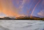 Frozen Wallowa Lake and rainbow