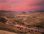 John Day River sunrise and moonset
