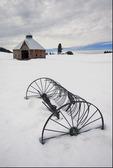 Barn and antique rake