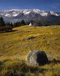Teepee and erratic boulder below Chief Joseph Mountain
