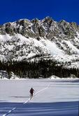 Crossing Douglas Lake on skis
