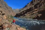 Hiker and the Snake River in Hells Canyon near Stud Creek