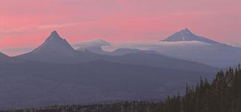 Cascade panorama at sunset--Mt. Washington, Three Fingered Jack, and Mt. Jefferson